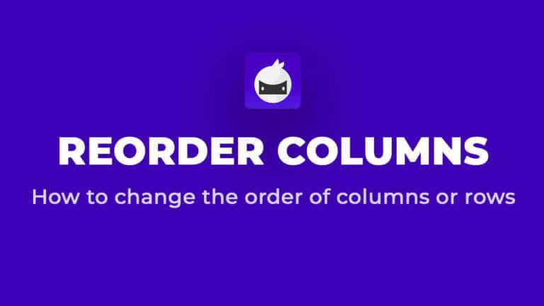 How To Reorder Columns